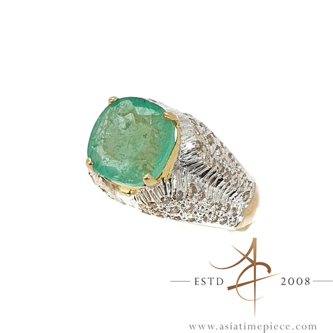4.0 Carat Emerald Diamond Ring 18K