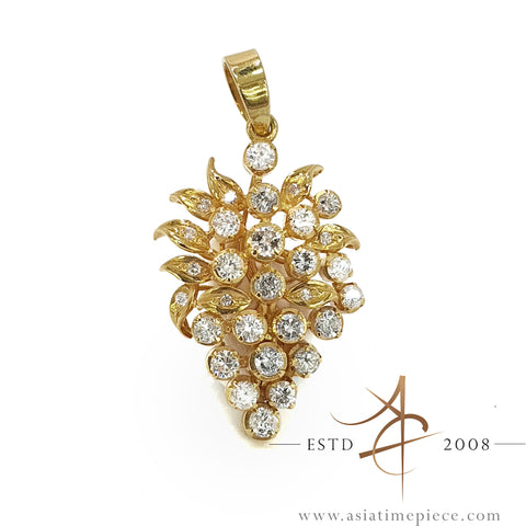 18K Gold Diamond Cluster Pendant
