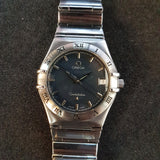 Omega Constellation Black Stainless Steel Watch Quartz 396.1201