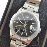 Rolex 15210 Stainless Steel Black Dial Engine-turned Bezel Vintage Watch (1997)