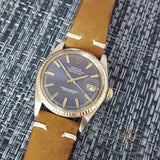Rare Rolex Blue Wide Boy Dial Ref 1601 Vintage Watch (Year 1971)