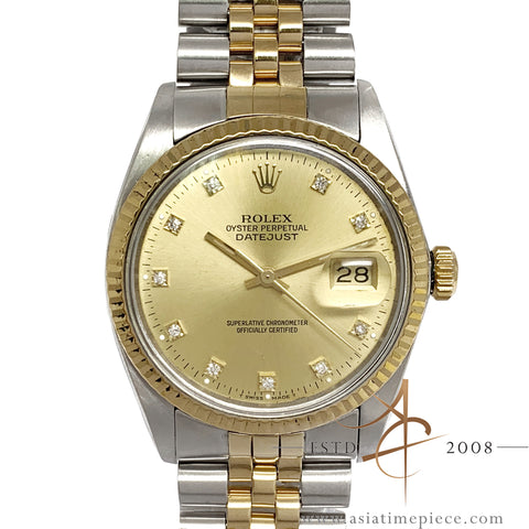 [Cert] Rolex Datejust 16013 Diamond Champagne Dial Vintage Watch (Year 1982)