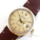 Rolex Oyster Perpetual Datejust Roman Tapestry Dial Ref 16013 Vintage Watch (Year 1985)