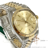 [Cert] Rolex Datejust 16013 Champagne 18k Gold Steel Vintage Watch (1987)