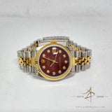 Rolex 68273 Red Dial Diamond Vintage Watch (Year 1993)