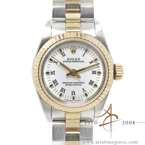 Rolex Oyster Perpetual Ladies 67193 White Roman Dial (1991)