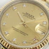 Rolex Datejust Midsize Boy Ref 68273 Big Diamond Dial Gold Steel (Year 1991)