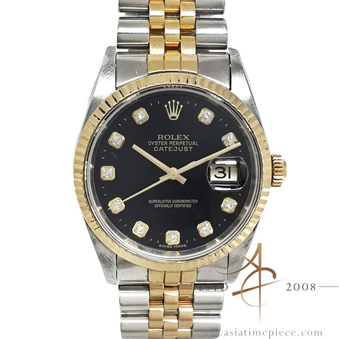 Rolex Datejust 16233 Diamond Black Dial (2000)