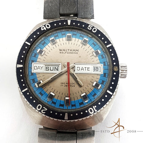 Waltham Blue Diver's Day Date Automatic Swiss Vintage Watch