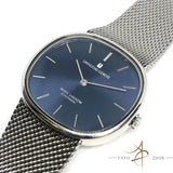Universal White Shadow Automatic Sunburst Blue Dial Steel Watch