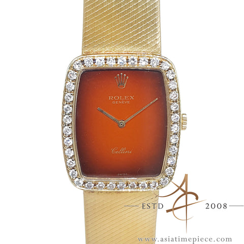 Rolex Cellini 4322 Red Vignette 18K Gold Diamond Vintage Watch (1981)