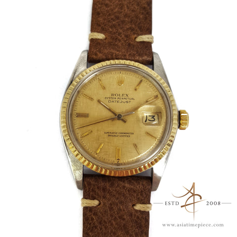 Rolex Oyster Perpetual Datejust Men Ref 1601 Linen Dial Watch (Year 1978)