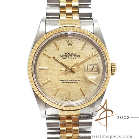 Rolex Datejust Ref 16233 Champagne Linen Dial (1991)