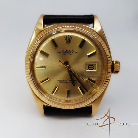 Rolex Oyster Perpetual Datejust Ref 6605 (Year 1959) 18k Gold Mint