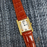 Cartier Silver Gold Plated Tank Vermeil Lady Watch