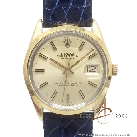 Rolex Oyster Perpetual Date Ref 15505 Gold Cap Vintage Watch (1984)