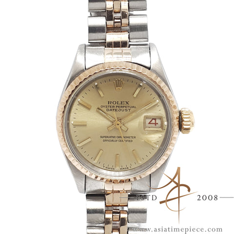 [Rare] Rolex Ladies Datejust Ref 6517 18K Rose Gold Steel Vintage Watch (Year 1968)