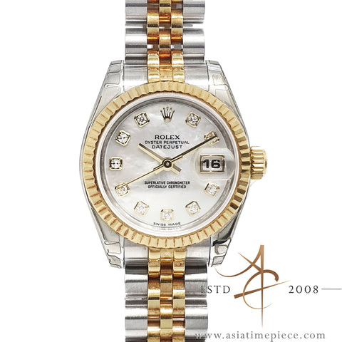 (LNIB) Rolex Datejust Ladies 179173 Mother of Pearl Diamond Dial Mint Condition