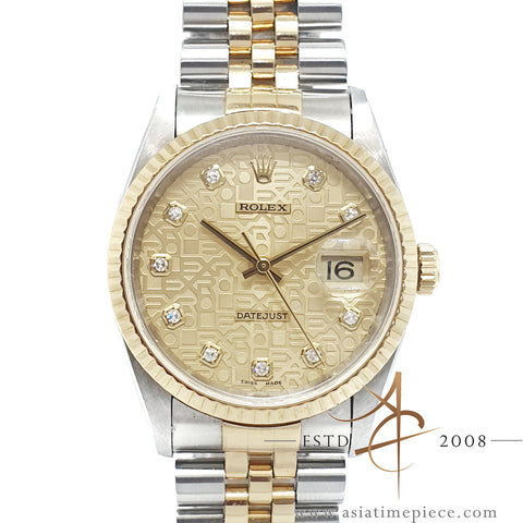 Rolex Datejust 16233 Diamond Computer Dial No Pinhole (1996)
