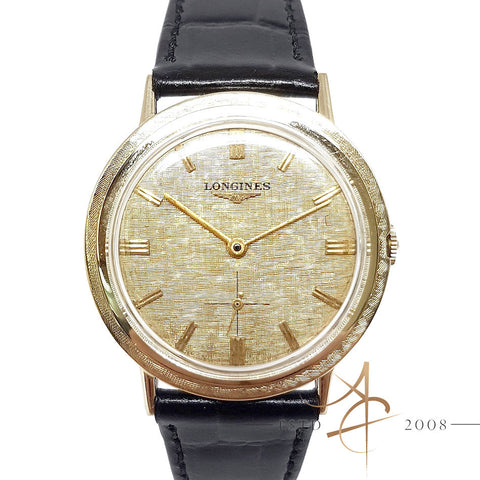 Longines Vintage 14K Gold Mechanical Winding Textile Dial