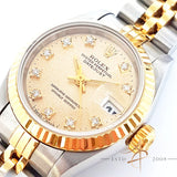 (SOLD) Rolex Ref 69173 Oyster Perpetual Datejust 18K Gold Factory Diamond Ladies