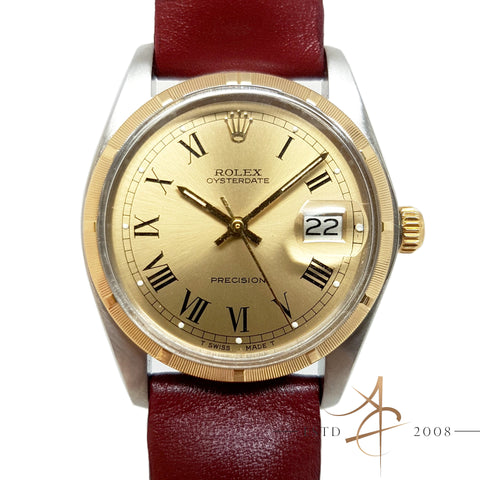 Rolex Oysterdate Precision Ref 6694 Custom Turn-O-Graph 18K Bezel (1978) Vintage Watch