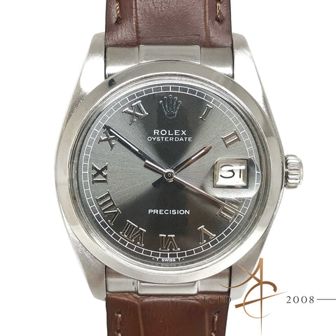 Rolex Oysterdate Precision Ref 6694 Custom Grey Roman Dial Vintage Watch (Year 1975)