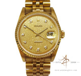 Rolex 16238 Datejust 18k Gold Diamond Dial Vintage Watch (Year 1990)