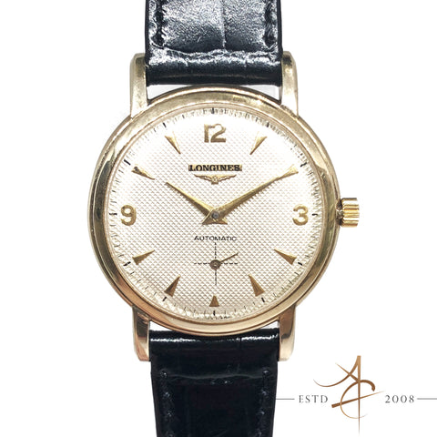 Longines Waffle Dial Sub Second 10K Gold Filled Automatic Vintage Watch