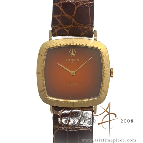 Rolex Cellini 4084 18K Gold Orange Vignette Dial Vintage Watch