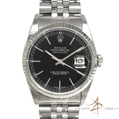 Rolex Oyster Perpetual Datejust Ref 16234 Black Dial Steel Watch (Year 2001)
