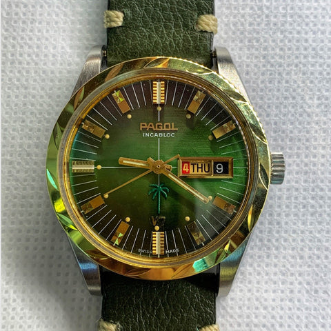 Pagol Green V7 Day-Date Vintage Watch Rare