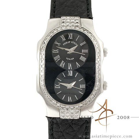 Philip Stein Teslar Signature Dual Time Zone Black Dial Diamond Ladies Watch