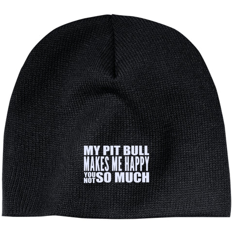 My Pit Bull Makes Me Happy - Beanie