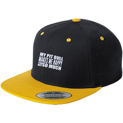Hats - My Pit Bull Makes Me Happy - Flat Bill High-Profile Snapback Hat