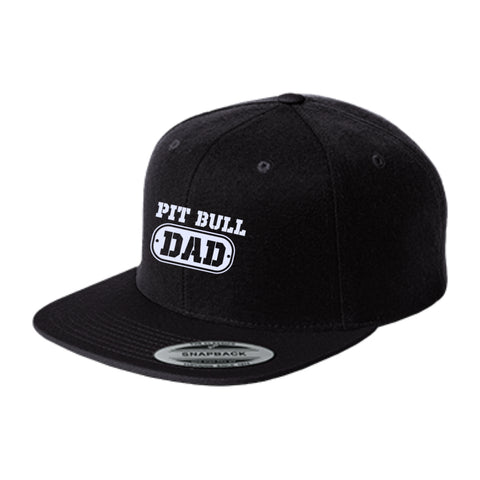 Pit Bull Dad - Flat Bill High-Profile Embroidered Snapback Hat