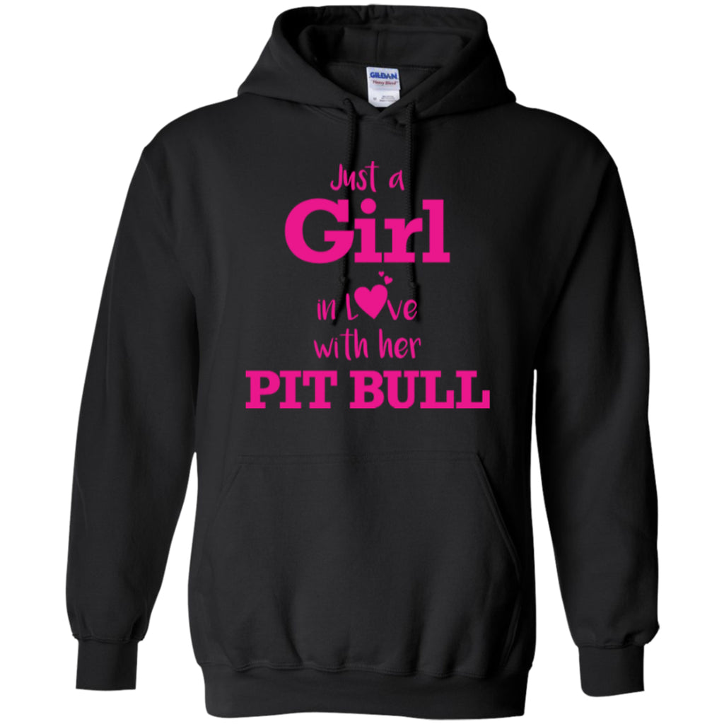 Hoodies - Just A Girl In Love With Her Pit Bull - Pink Hoodie