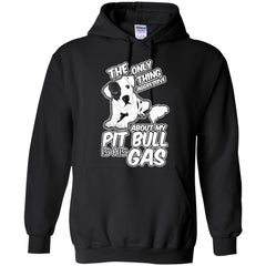 Hoodies - The Only Thing Aggressive About My Pit Bull Is His Gas - Hoodie