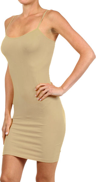 Seamless Solid Dress Spaghetti Straps