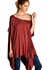 Loose Fit Short Sleeve Tunic with Asymmetrical Hemline