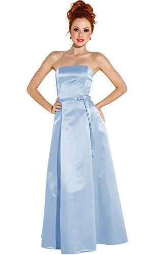 50s Strapless Satin Long Bridesmaid Prom Dress Formal Junior Plus Size
