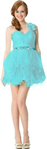 Ruffle One-Shoulder Short Prom Homecoming Dress