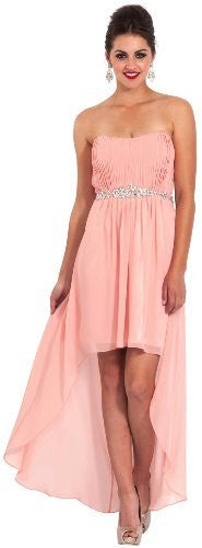 Chiffon Strapless High-Low Gown with Crystal Trim