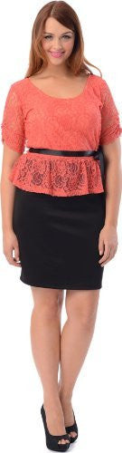 Lace Color Block Peplum Dress