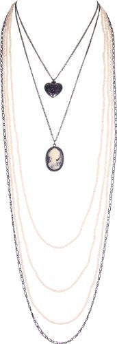 Extra Long Victorian Steampunk Gothic Cameo Heart Necklace, Color: Pewter