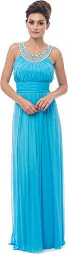 Beaded Bib Long Bridesmaid Mother of the Bride Dress
