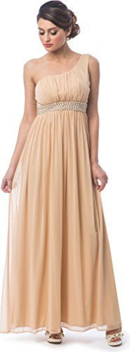 One Shoulder Chiffon Goddess Prom Bridesmaid Dress