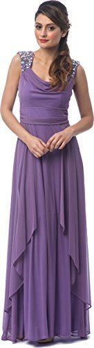 Draped Chiffon Long Bridesmaid Dress Beaded Shoulders