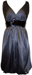 Pinstriped Satin Belted Bubble Dress - PacificPlex