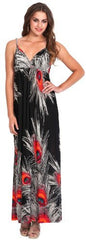 Peacock Feather Print Maxi Dress